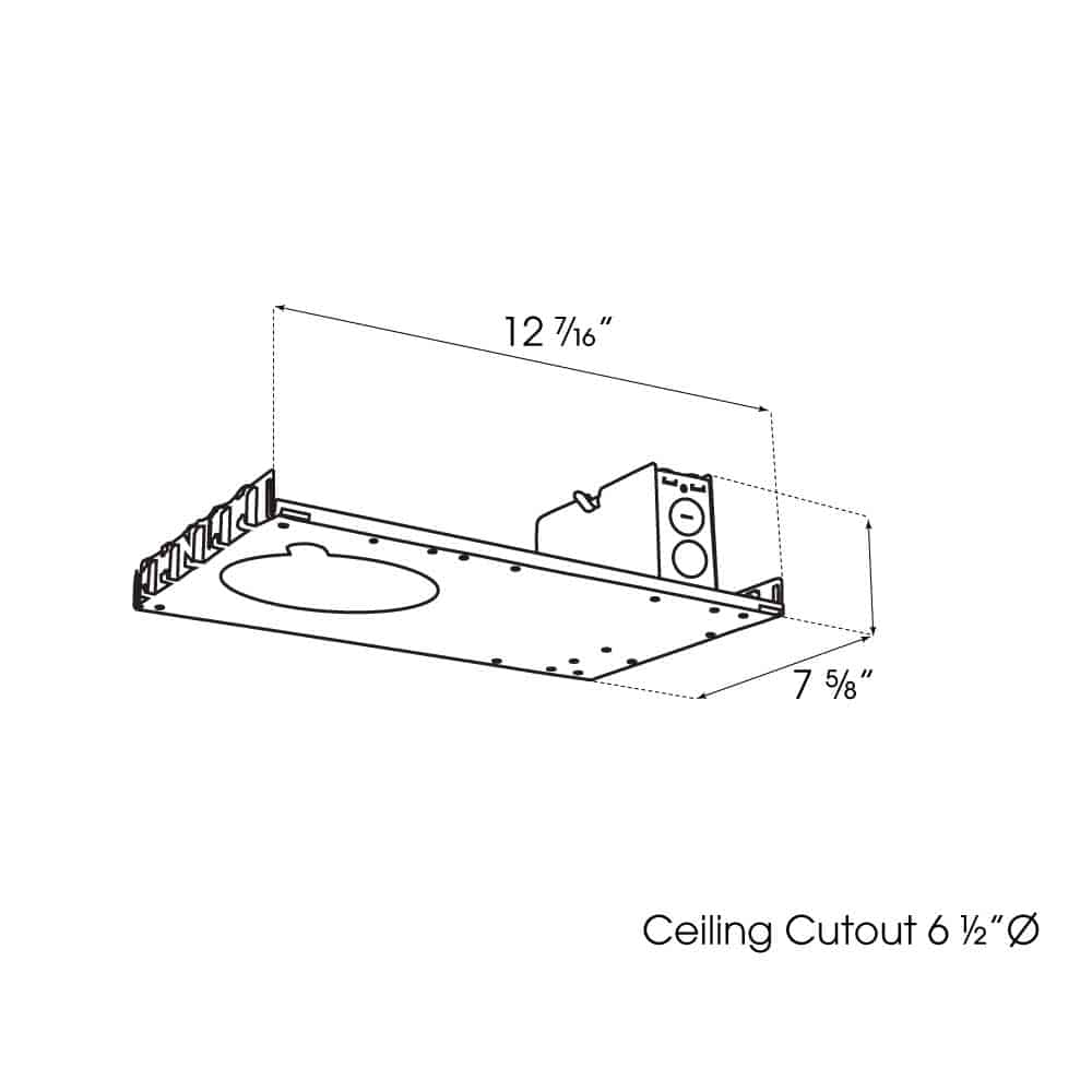 """6"""" New Construction Downlight dimensions"""