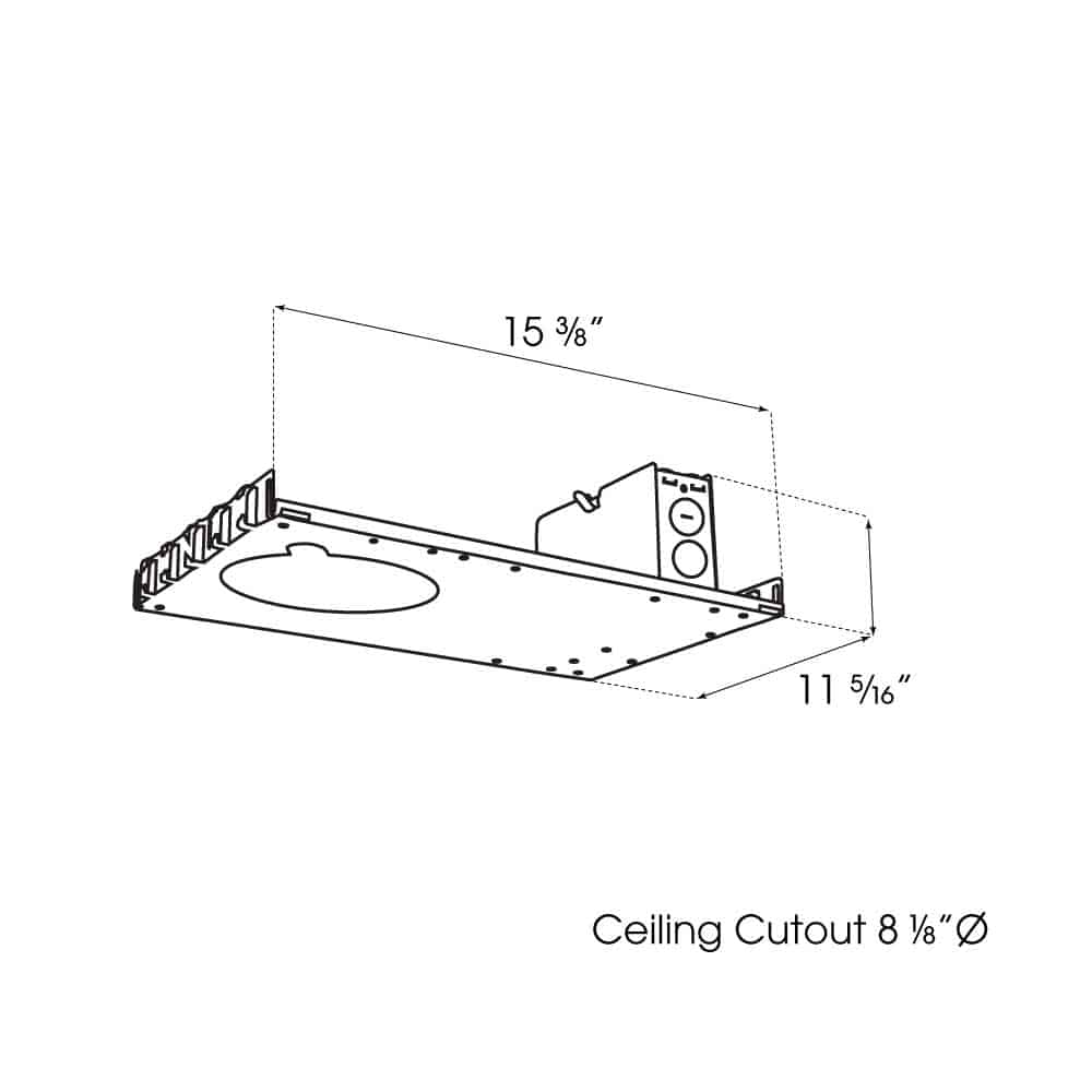 """8"""" New Construction Downlight dimensions"""