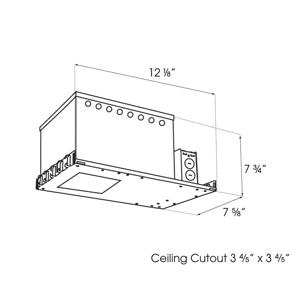"""3.5"""" Square Premier Downlight New Construction IC Housing dimensions"""