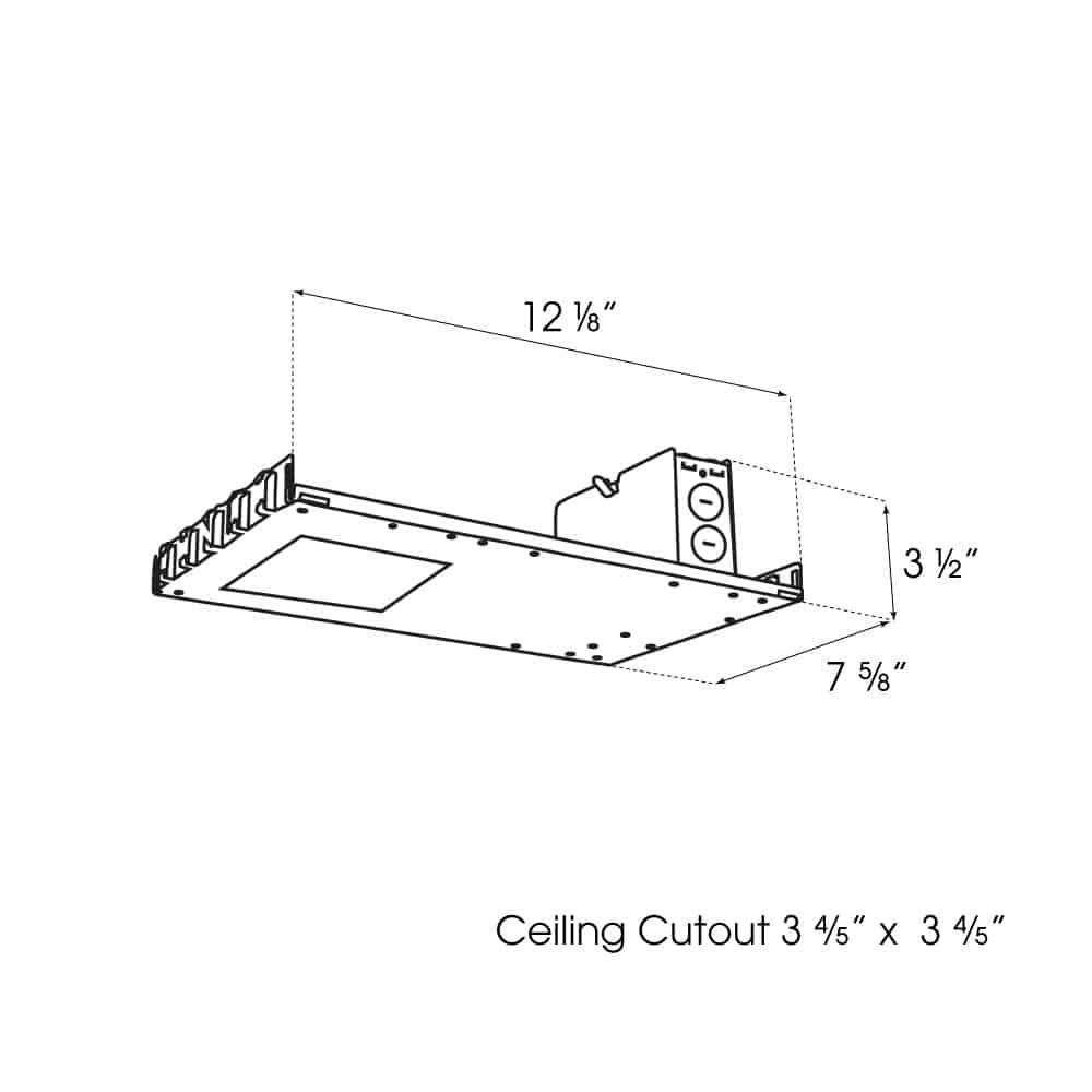 "3.5"" Square Premier Downlight New Construction Non-IC Housing dimensions"
