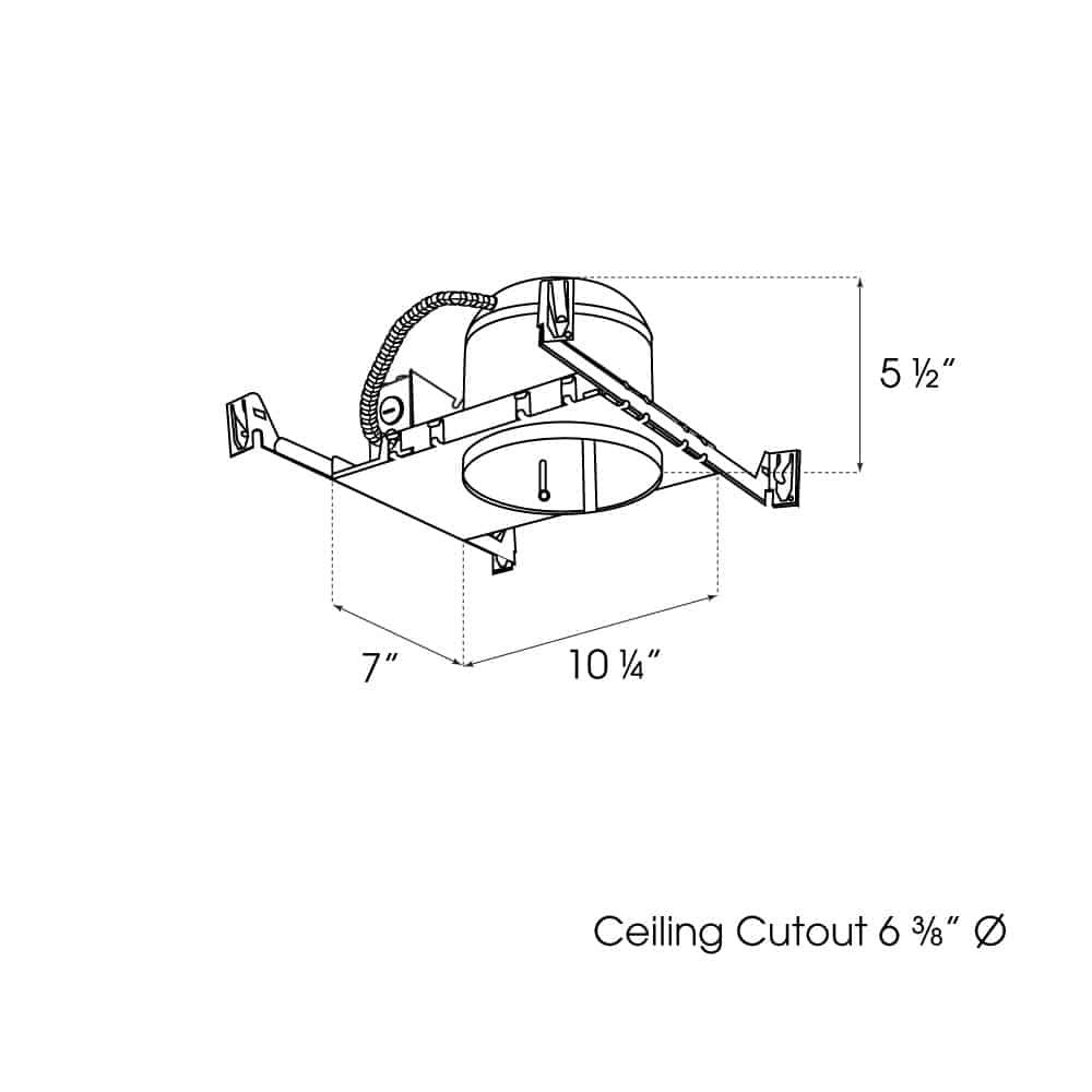 "6"" New Construction Shallow Non-IC Housing dimensions"