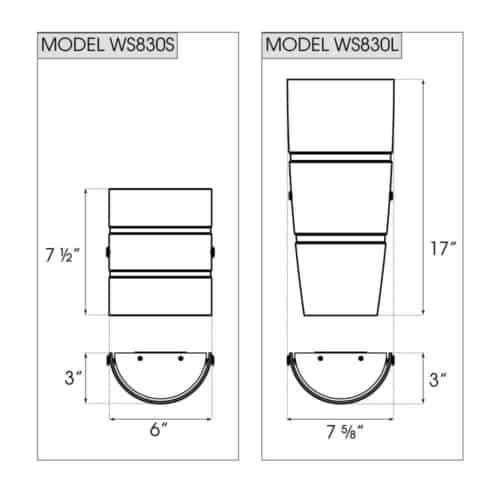WS830 dimensions