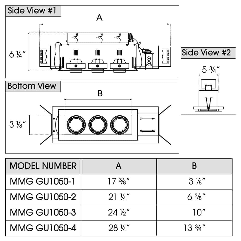 MINI MODULINEAR Line Voltage NEW CONSTRUCTION GU10 MR16 New Construction dimensions