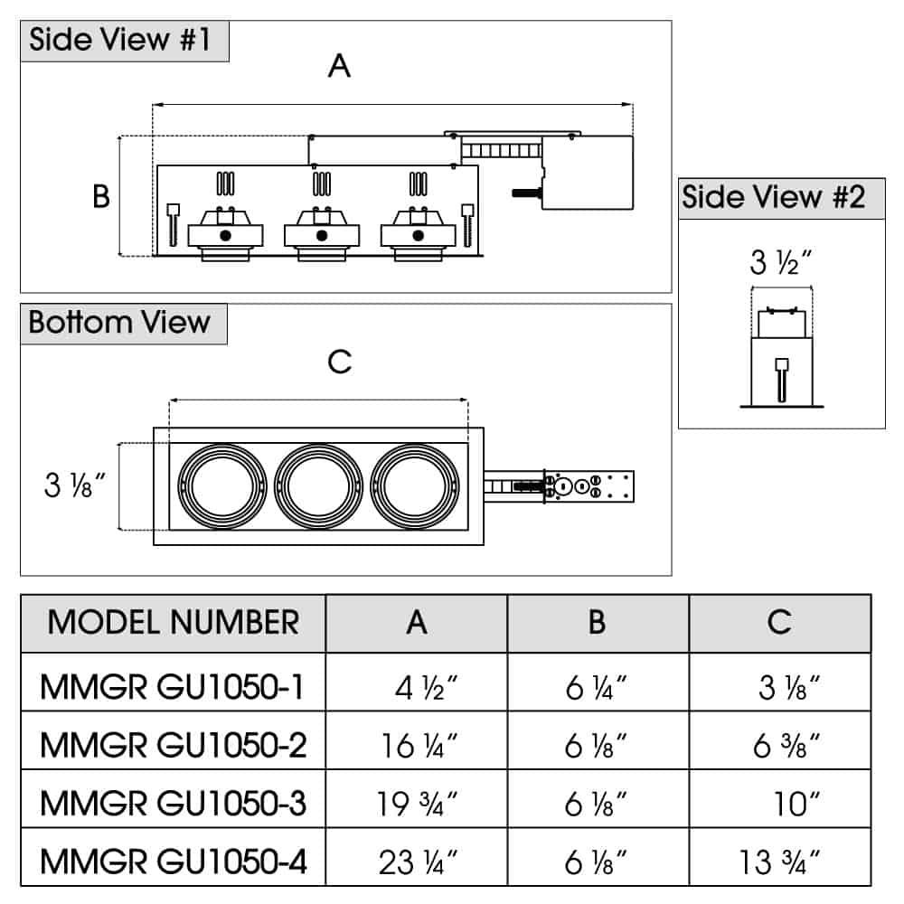 MINI MODULINEAR Line Voltage NEW CONSTRUCTION GU10 MR16 Remodel dimensions